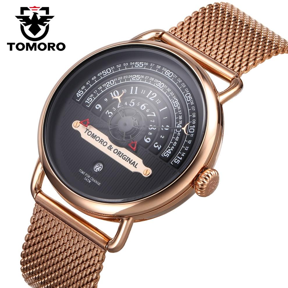 TOMORO 2017 Creative Man XFCS Rose Gold Mesh Strap Luxury Brand Men Fashion Sports Quartz Clock Geek Free Style Date Watches<br>
