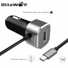 BlitzWolf Type-C USB Car Charger With Cable Mobile Phone Charger Adaptor For Xiaomi For Nokia N1 tablet For Macbook 12 Inch(China)
