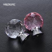 2017 Real 30mm Pink Color Door Drawer Pull Handle Diamond Wardrobe Knobs K9 Crystal Glass Alloy Cabinet Drop Furniture Handles(China)