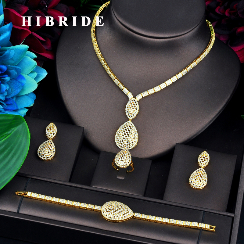 HIBRIDE Luxury Gold Color Dubai Bridal Jewelry Sets For Women Necklace Earring Ring Bracelet Jewelry Accessories N-745