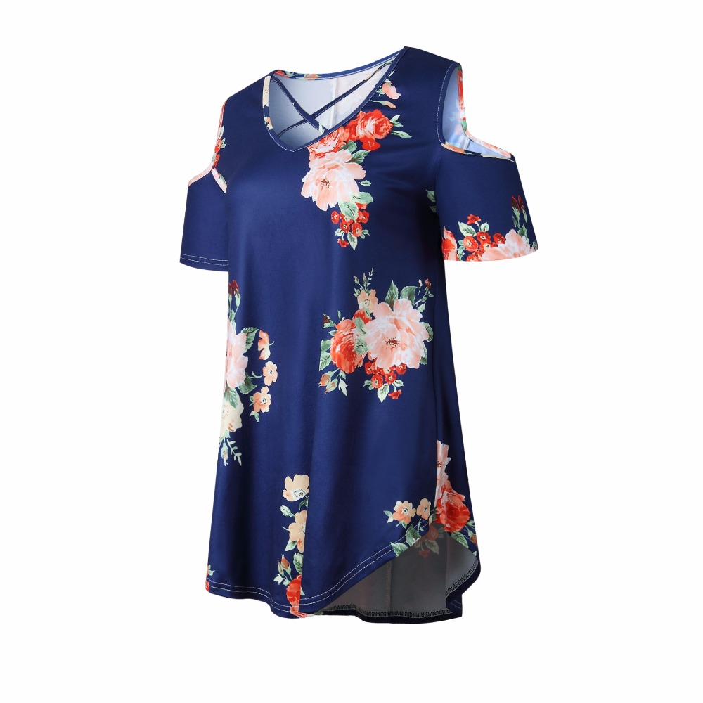 New 2018 Spring Summer Tops Women Short Sleeve Sexy Casual T-shirt Print Slim Off Shoulder T-shirt Flowers Print Tops T-shirt 18