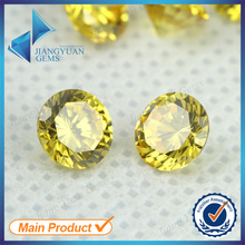 50pcs 5A 0.8-6.0mm Golden Yellow Color Loose Cubic Zirconia CZ Stone Round Shape European Machine Cut Synthetic Gemstone