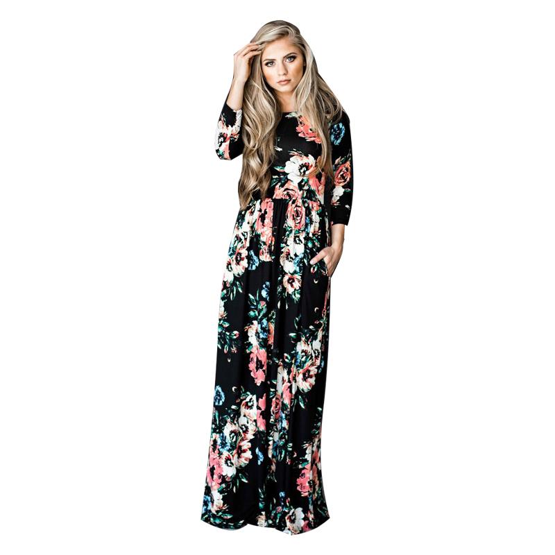 ELSVIOS-2017-Summer-Boho-Beach-Dress-Fashion-Floral-Printed-Women-Long-Dress-Three-Quarter-sleeve-Loose (3)