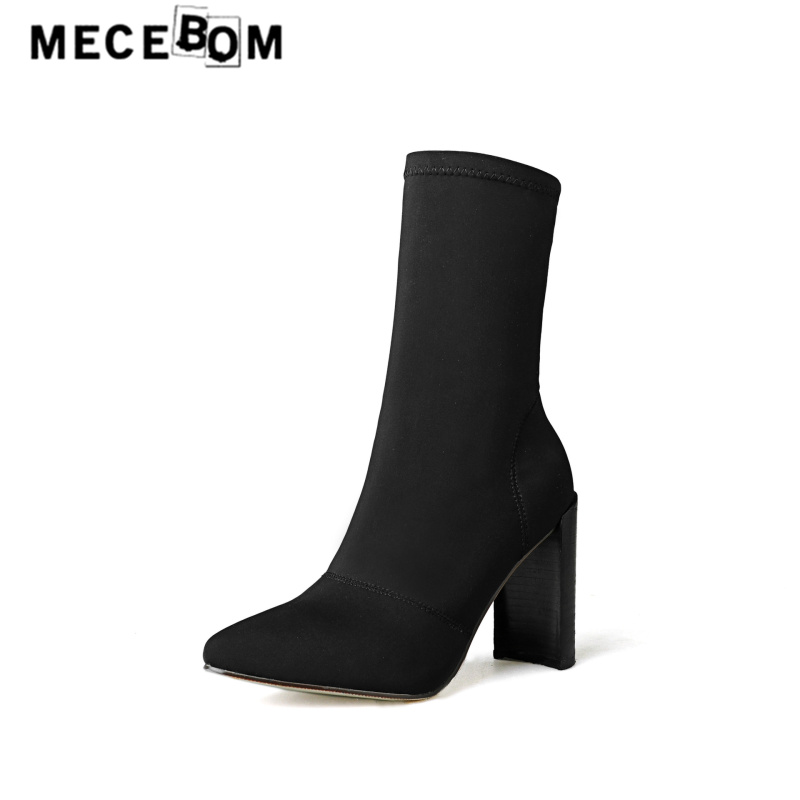 Women fashion boots leisure stretch fabric slip-on ankle boots high heel pointed toe lady pumps zapatos mujer size 35-40 937w<br>