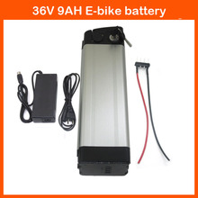 Bottom Discharge 500W 36V Ebike battery 36V 9AH Electric Bike battery Silver fish with 42V 2A charger and 15A BMS Free shipping(China)