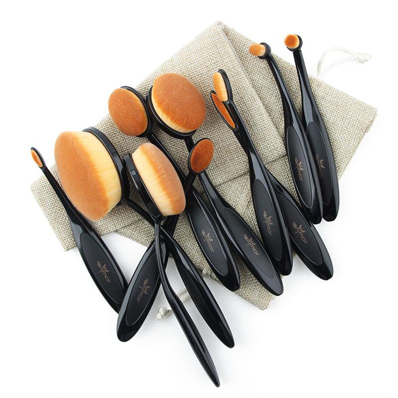 Anmor Professionnel 10 PCS Rose Or Ovale Maquillage Pinceaux extrêmement Souple Make Up Fondation Pinceau Poudre Kit avec Noir sac 11