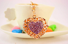 free shipping 12pcs/lot Lovely Alloy rhinestone purple wedding and bridal shower gift souvenirs of heart keychain purse hanger