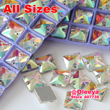 Crystal Clear AB Color Square Shape Sew On Rhinestones 10mm 12mm 14mm 16mm 22mm Sewing Glass Stones Y1048