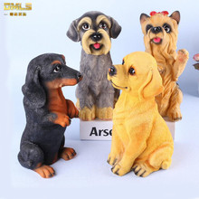 DMLS Home Decor Dog Figures Figurines Artware Lifelike Resin Puppys Birthday Gift For Office Decoration 1 Piece Free Shipping