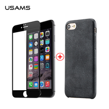 USAMS Bob series Leather Case For iPhone 7 plus Case anti-fingerprint Case for iPhon 7 glass film for iPhone 7 7 plus protector