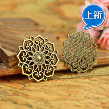 31MM alloy Charm Pendants hollow flower disc Antique Bronze ancient silver  pendant jewelry Making accessories diy material