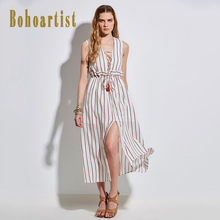 Bohoartist Women Apparel 2017 Summer Stripes Dress Cotton Sleeveless V Neck Tassel OL Style Elegant Office Ladies Dresses(China)