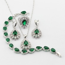 Silver Color Tear Drop Green Created Emerald Necklace Pendant Drop Earrings Rings bracelet Women Jewelry Sets Christmas Gifts