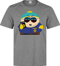 2017 Fashion South Park Cartman Police Man Holding Badge Funny Men Clothing Top Grey T Shirt 3D Print 100% Cotton T Shirt