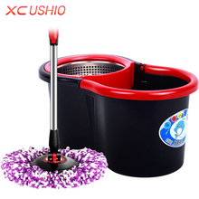 Household Spin Magic Mop Bucket Stainless Steel Hand Press Mop Bucket with Rotate Mop Head Housekeeper Cleaning Tools(China)