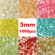 1000pcs 5mm PEARLS ABS Immitation Half Round Flat Back Resin Cabochon Beads Pearl Finish Half Dome Pearl Gems DIY Crafts(China)