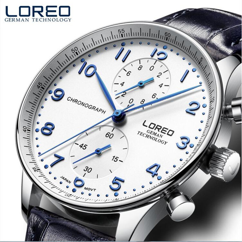 LOREO Original Luxury Military Quartz Watches Men Hour Clock Business Leather Wristwatch relogio masculino Christmas gift O91<br>