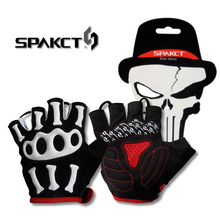 SPAKCT Men's Skull SRG Silicone Gel Paded Road MTB BMX Bike Bicycle Cycling Cycle Wear Short Half Finger Gloves-Skeleton,5 sizes
