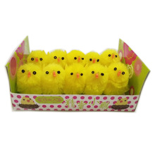 40 pcs/lot  easterchenille chicks  decoration about 3-3.5cm high  Happy Easter Day  easter gift for Children