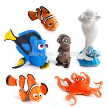 New Finding Dory Figures Toy Set of 6 Dory Nemo Marlin Sea Otter Hank Octopus Bailey Whale Kids Toys For Children Gifts