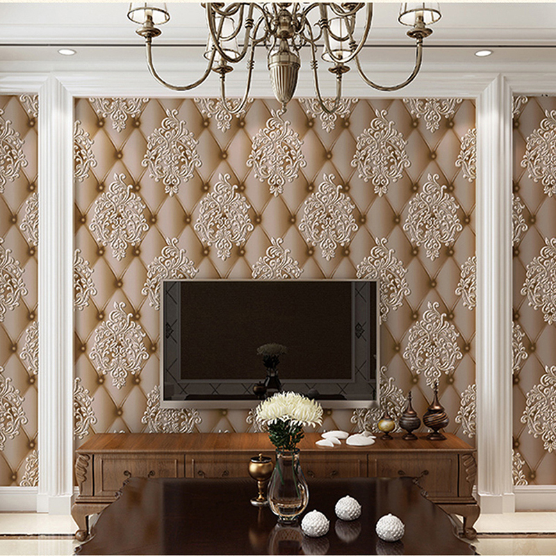 3D Stereo Soft Roll European Style Wallpaper Living Room TV Sofa Bedroom Background Wall Non-Woven Luxury Wall Papers Home Decor<br>