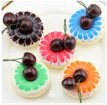 6.8*5.3CM Miniatures simulation circle purple cherry  decorated cake fridge magnets furnishing articles cake Model 6 pcs/set