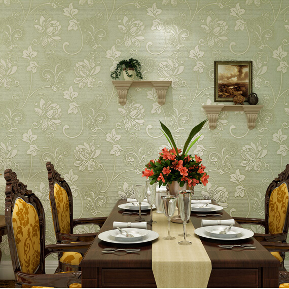 vintage 3d wallpaper flower light green papel de parede retro floral<br><br>Aliexpress