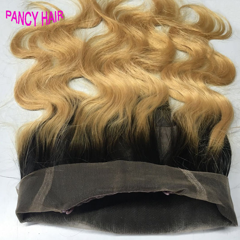 7A Peruvian Virgin Hair 360 Lace Virgin Hair 360 Frontal Body Ombre Weave 1B-27 honey Blonde Color frontal bleached knots<br><br>Aliexpress