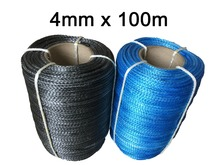 Free Shipping 4MM*100M Synthetic Winch Line UHMWPE Fiber Rope For 4WD 4x4 ATV UTV Boat Recovery Offroad