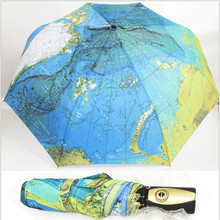 3 folding fully-automatic rain umbrellas cheap high quality map parasol rain tools women men's umbrella from the rain