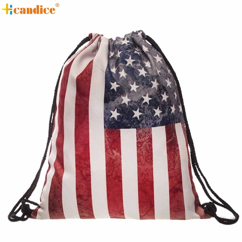 Naivety 2016 New Fashion Unisex Backpacks 3D Printing Flag Drawstring Bags Gift AUG30 drop shipping<br>