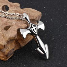 Best gift for Men's Hip Hop Jewelry Silver Stainless Steel Sword Cross Pendant Necklace New List