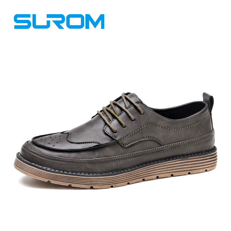 SUROM Men Luxury Brand Leather Shoes Fashion England Trend Leisure Shoes Punch Toe Cap Brogue Lace up Vintage Style Casual Shoes<br>