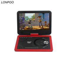 LONPOO Portable DVD player 10.1 Inch DVD with rotatable screen game and TV function support CD player Car charger for home car(China)