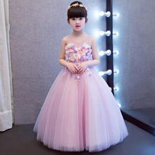 vintage dresses party for girls long dress fairy flowers child costume children's clothing 10 years kids gowns purple(China)
