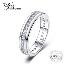 JewelryPalace Cubic Zirconia Wedding Band Channel Eternity Ring Pure 925 Sterling Silver Fine Jewelry For Women Nice Gift(China)