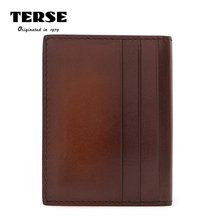 TERSE_2017 New release leather card holder driver license card wallet handmade patina genuine leather id name card bag custom(China)