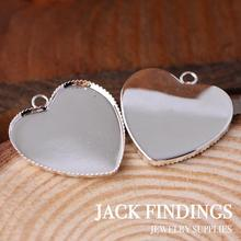 25mm 10pcs  High Light Silver  Plated Copper  Heart Cabochon  Settings Cabochon Bases Cameo Base Blank Tray