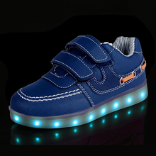 Size 25-35// USB Charger Glowing Sneakers Basket Led Children Lighting Shoes Boys Girls illuminated krasovki Luminous Sneaker