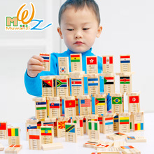 MWZ 100pcs Wooden National Flag Domino Learning Flags World Countries China Map World Map Cognitive Children Educational Toys