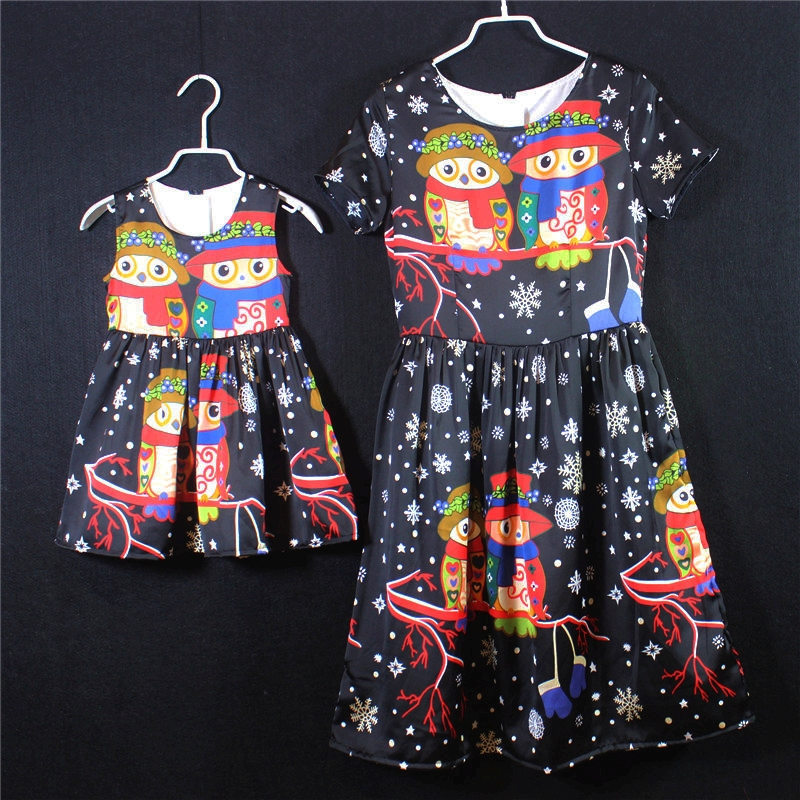 family matching clothes brand European owl cartoon mommy girls princess chiffon children dress party mother and daughter dresses<br>