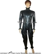 Buy Black Sexy Latex Catsuit Ruffles Back Crotch Zipper Rubber Body Suit Catsuit Bodysuit Zentai Overall Cat Suit LTY-0035