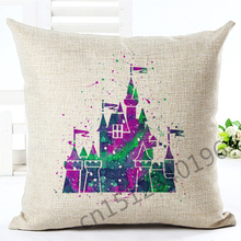 2016 High Quality Cartoon Style Color The Castle Home Decor Chair Cushion Throw Pillow Cojines Almofadas Cotton Linen Square(China)