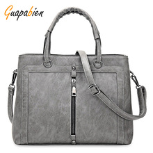 Guapabien Fashion Brand Women Leather Handbag Zipper Tote Female OL Wedding Party Shoulder Bags Ladies Leather Hand Bag
