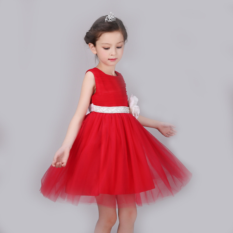 Korean Red Spring Summer Ball Gown O-neck Sleeveless Princess Festival Show Stage Bow Knot Flowers Lace Decor Formal Dress<br><br>Aliexpress