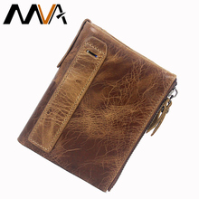 MVA Genuine Leather Wallet Men Wallets Clutch Zipper Short Men Fold Wallet Vintage Coin Pocket Purse Wallets Male Card Holder