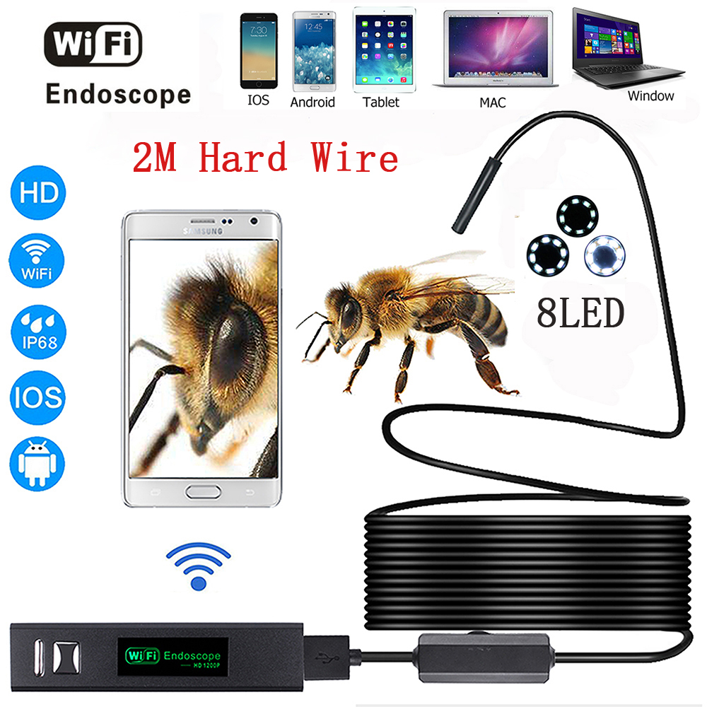 Wifi endoscope camera  Android &amp; IOS Endoscopio 1200p 8 LED 8mm Waterproof Inspection Borescope Tube Camera with 2M Hard wire<br>