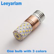 Leeyarlam 3 Colors In One LED Corn Bulb 85v-265v Lamp Lampada Sectional Dimming Chandelier White/WarmWhite/NaturalWhite E14/E27(China)