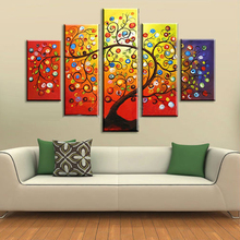 NEW 2016 200% hand-painted  Golden autumn silver rich tree  Art Decoration sitting room Oil Painting On Canvas Wall   91815801K