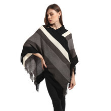 2017 Spring Autumn Women Striped Tassel Wool Sweaters Poncho Loose Long Knitted Cape Pullovers Irregular Hem Jumper Femme